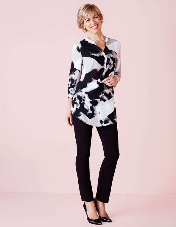 Abstract Print Tunic Blouse, Black Abstract, hi-res