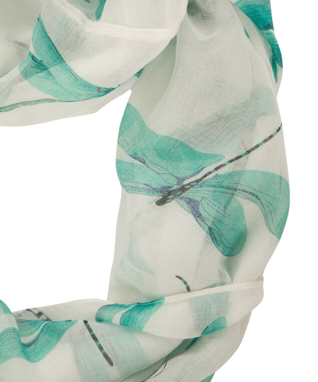 Dragonfly Print Eternity Scarf, Soft Mint/Milkshake, hi-res