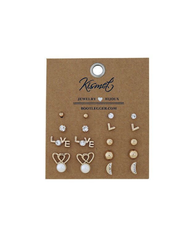 multi pack of earrings, GOLD, hi-res