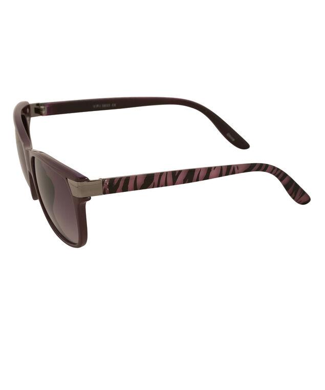 Printed Arm Sunglasses, Purple/Black, hi-res
