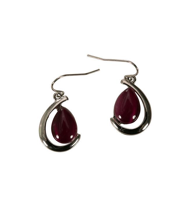 Teardrop Cateye Earring, Plum/Rhodium, hi-res