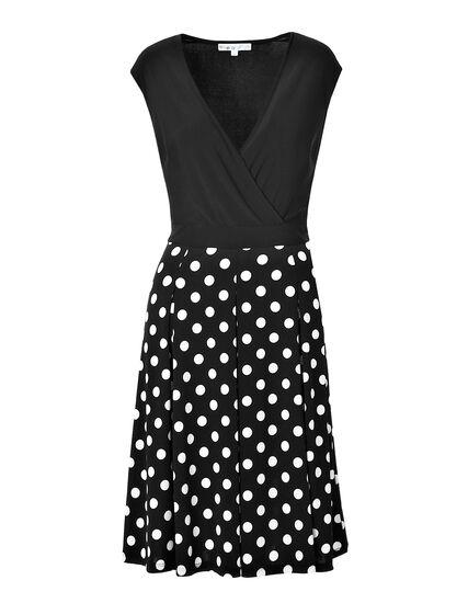 Polka Dot Fit and Flare Dress, Black/White, hi-res