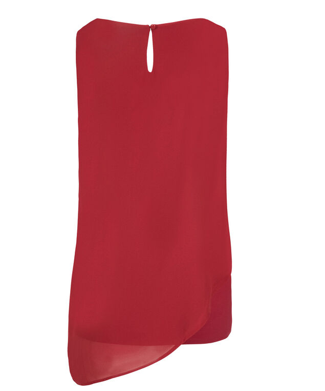 Asymmetric Woven Overlay Top, Poppy Red, hi-res