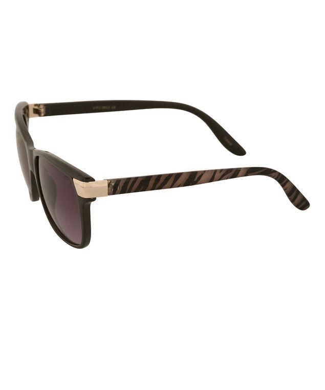 Printed Arm Sunglasses, Brown, hi-res