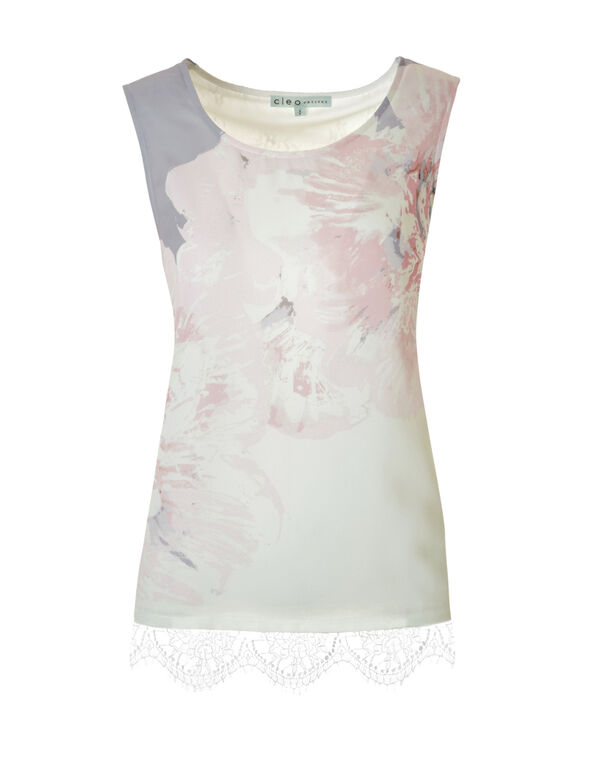 Sleeveless Print Lace Top, Ivory/Soft Pink/Lt. Grey, hi-res