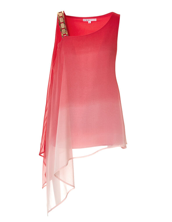 Coral Asymmetrical Blouse, Coral/Pink Sand, hi-res