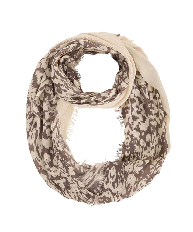 Novelty Knit Print Scarf, Champagne/Brown, hi-res