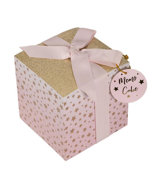 Glitter Memo Pad, Pink/Gold, hi-res