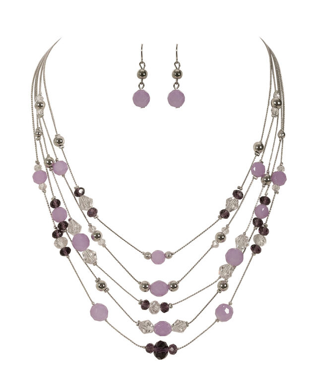 Stationed Bead Necklace Set, Lilac/Purple/Rhodium, hi-res