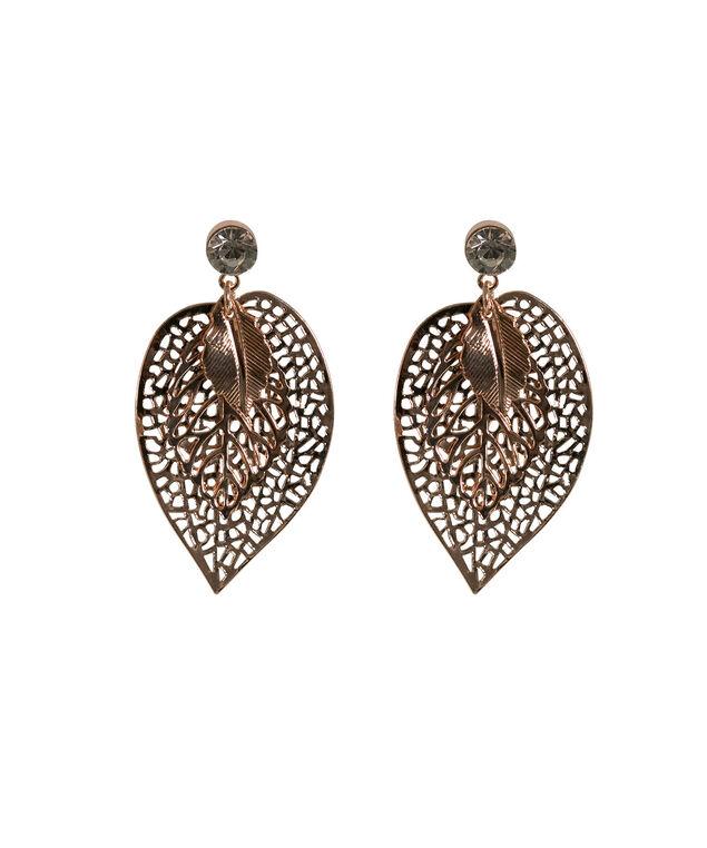Etched Triple Leaf Earring, Rose Gold, hi-res