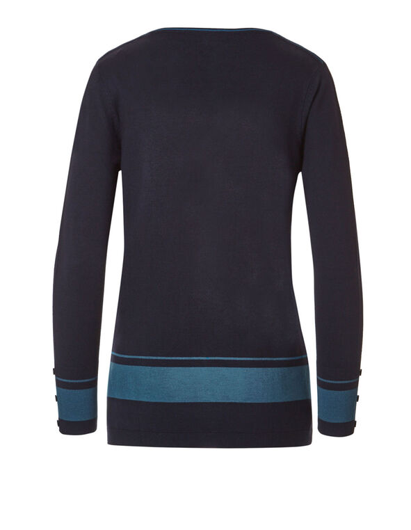 Navy Striped V-Neck Sweater, Colour Block, hi-res