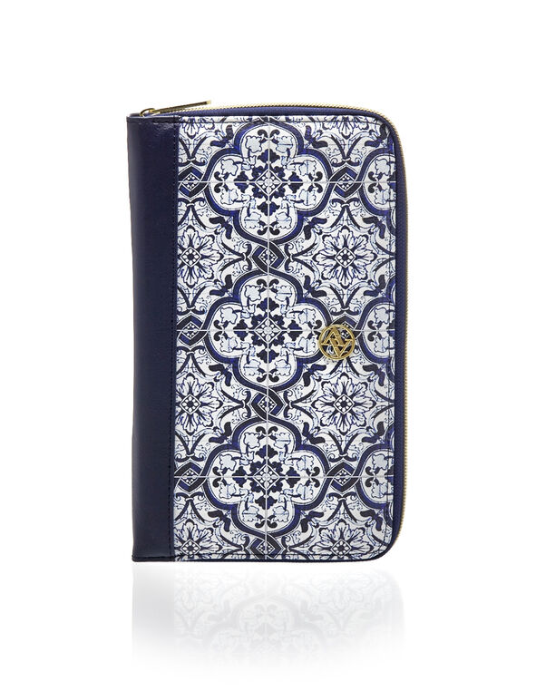 Blue Tile Print Organizer Wallet, Blue/White/Gold, hi-res