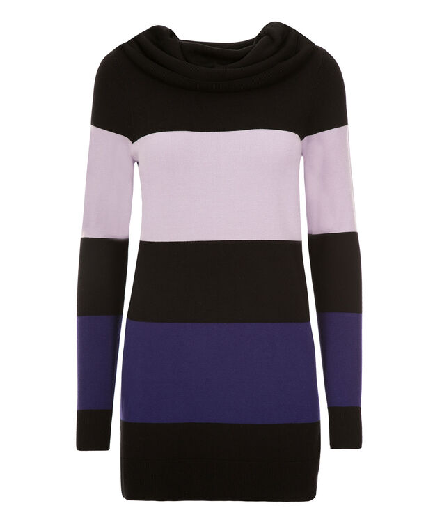 Cowl Striped Pullover, Black/Ice Violet/Royal Purple, hi-res
