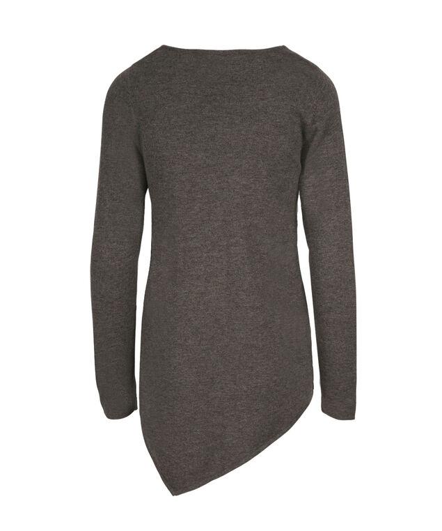 Asymmetrical Tunic Sweater, Charcoal/Mid Grey/Light Grey, hi-res