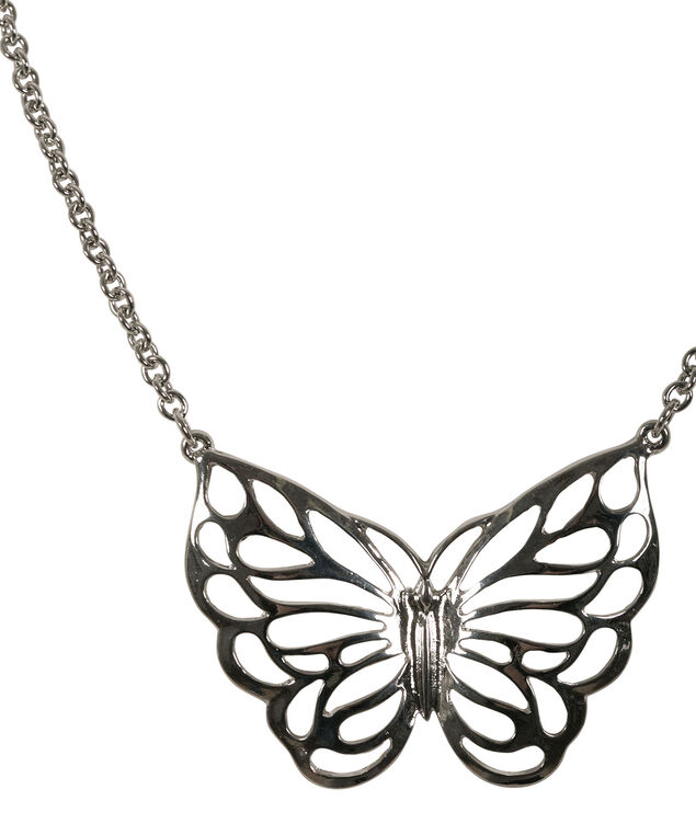 Butterfly Pendant Necklace, Rhodium, hi-res