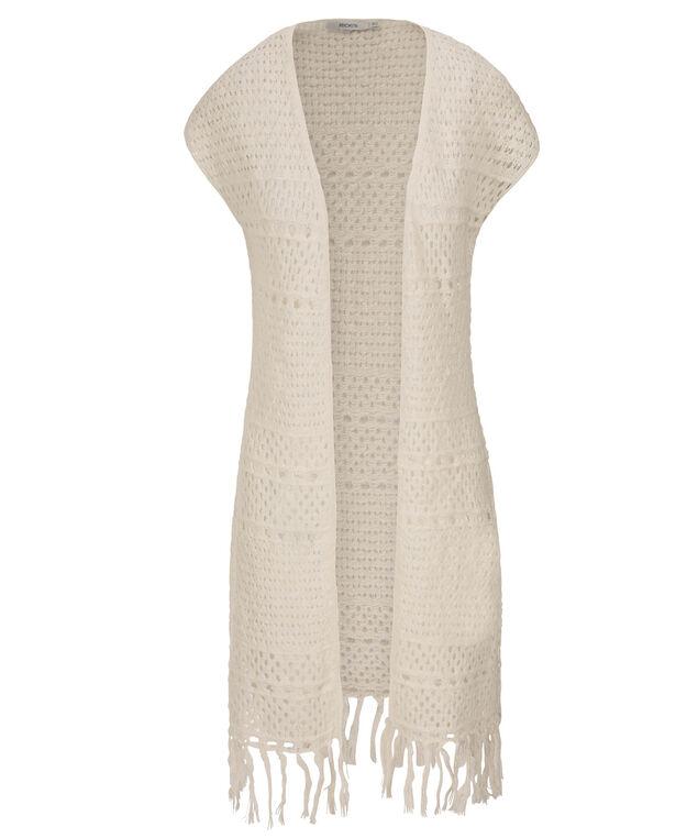 Open Stitch Duster Fringe Vest, Milkshake, hi-res