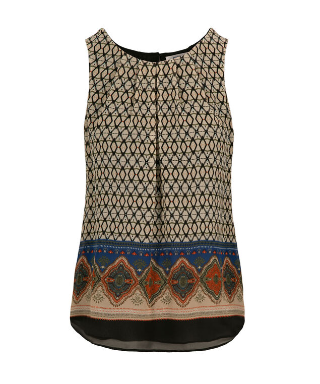 Double Layer Blouse Tank, Neutral Print, hi-res