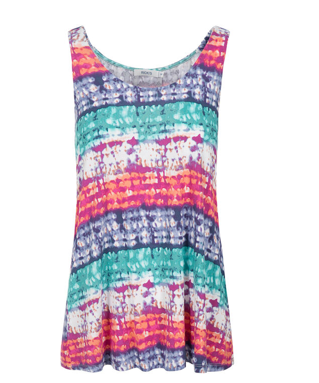 Multi Colour Trapeze Tank, Blue/Pink Print, hi-res