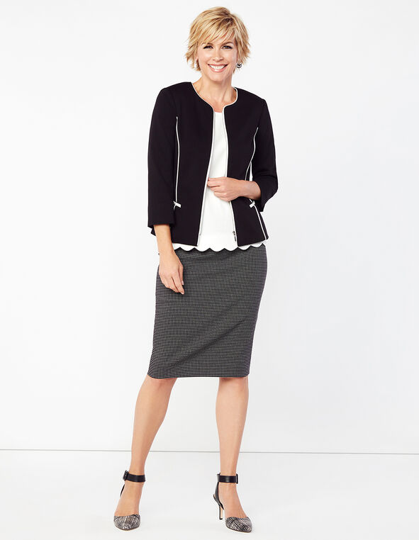 Windowpane Suiting Pencil Skirt, Black/Ivory, hi-res