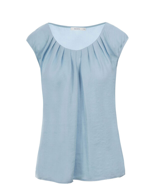 Pintuck Satin Top, Misty Blue, hi-res