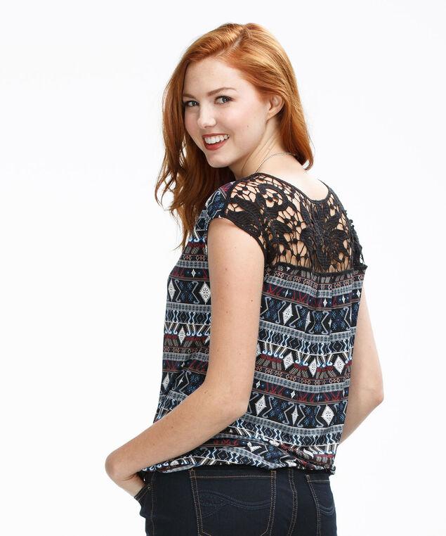 Crochet Bubble Top, Blue Print, hi-res