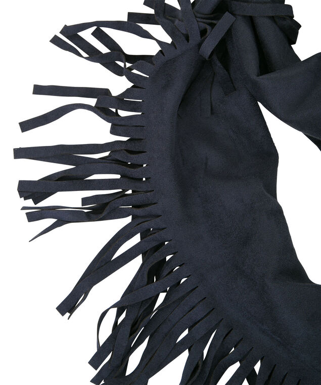 Faux Suede Eternity Scarf, Navy, hi-res