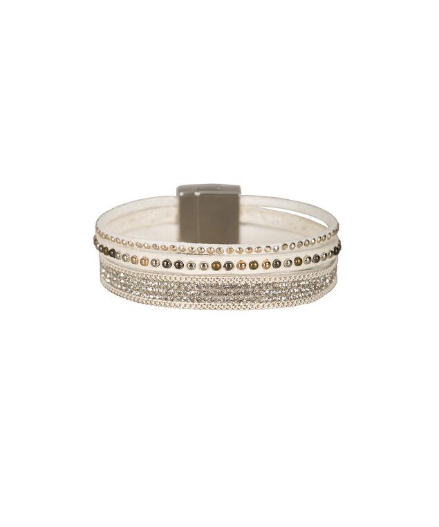 Magnetic Wrap Bracelet, White/Rhodium/Gold, hi-res