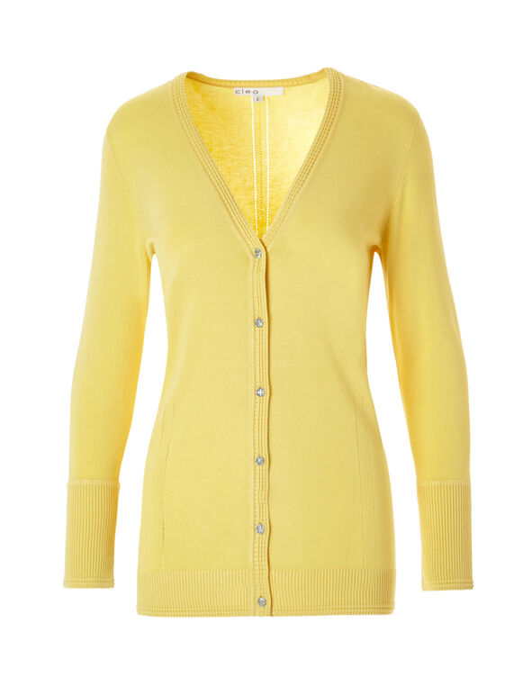 Yellow Cardigan Sweater, Yellow, hi-res