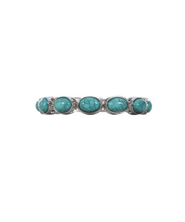 Turquoise Stone Bracelet, Turquoise/Burnished Silver, hi-res