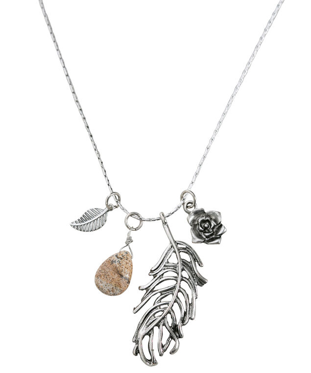 Cluster Feather Pendant Necklace, Burnished Silver, hi-res