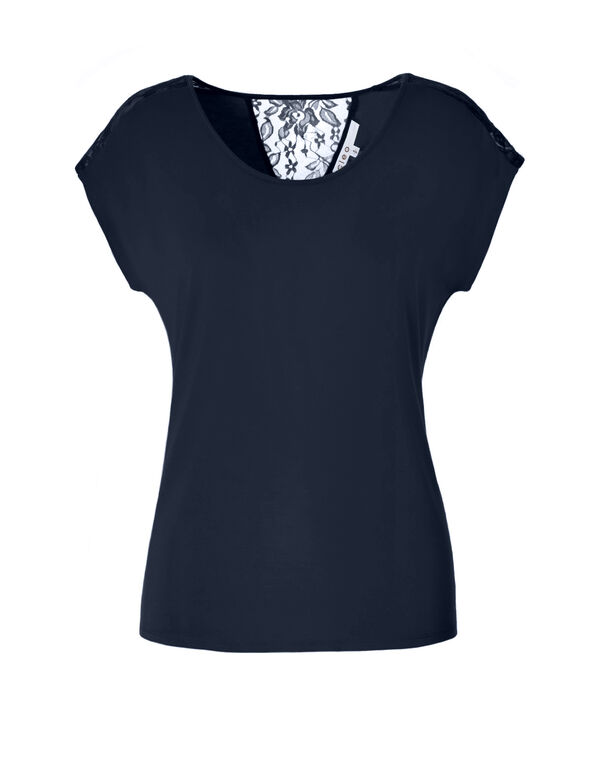 Navy Crochet Trim Tee, Navy, hi-res
