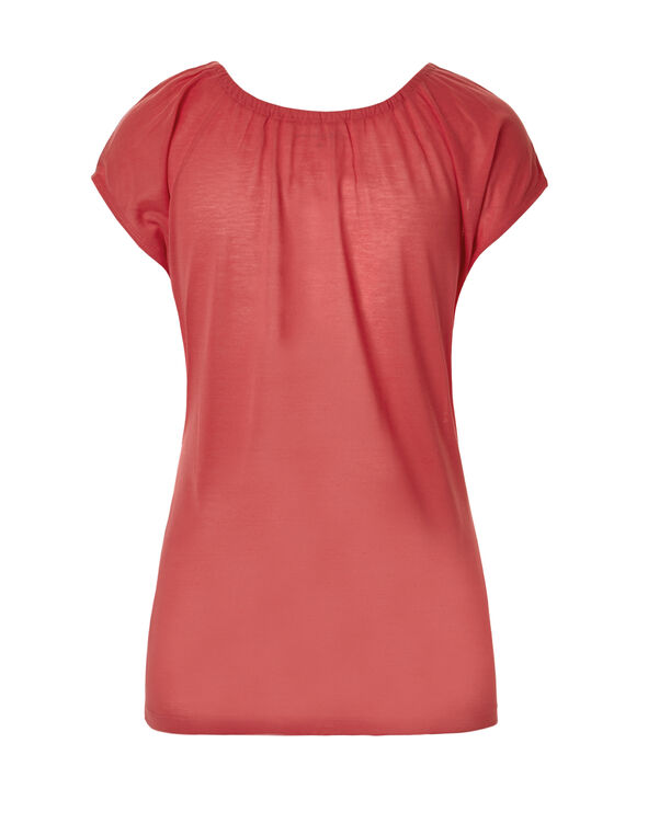 Coral Tassel Tie Tee, Coral/White/Pink, hi-res