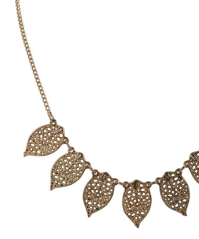 Filigree Leaf Mini Statement Necklace, Antique Gold, hi-res
