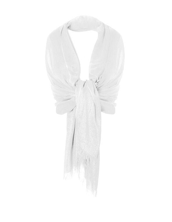 White Shimmer Lurex Shawl, White, hi-res