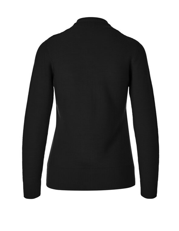 Black Ottoman Stitch Topper Sweater, Black, hi-res
