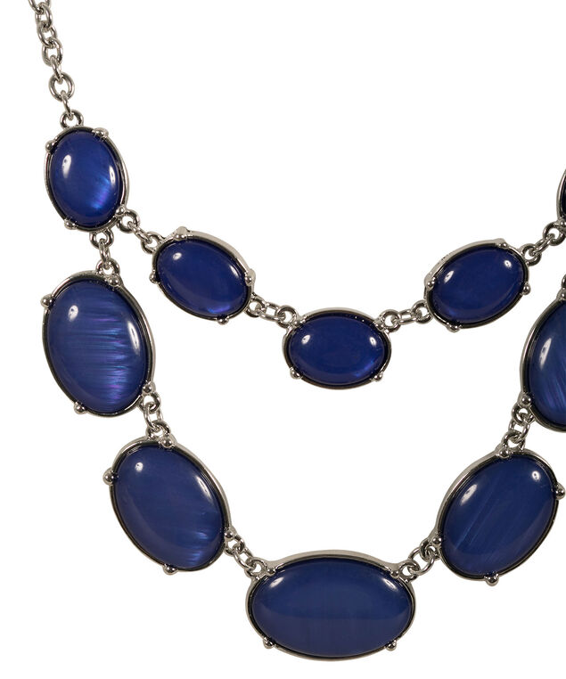 Oval Cateye Necklace, Blue/Rhodium, hi-res