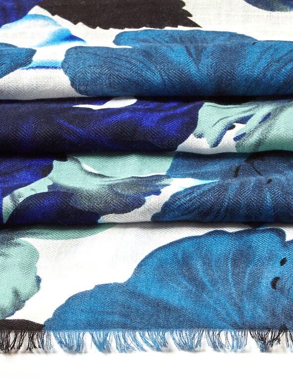 Oversized Floral Scarf, Royal Blue/Washed Blue/Black, hi-res