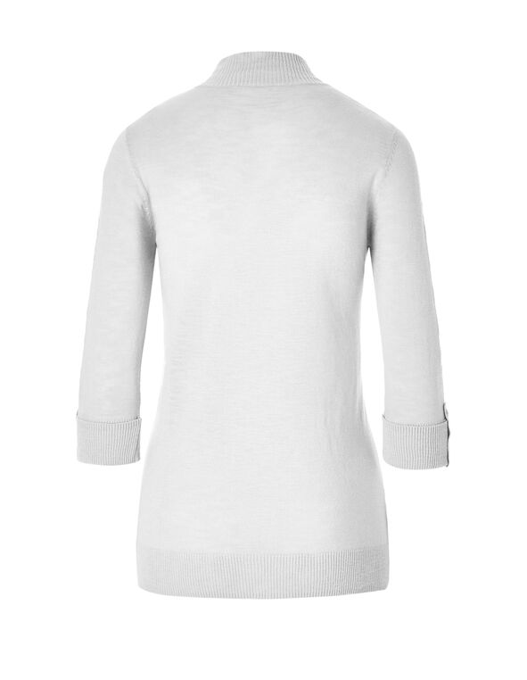 White Lightweight Topper Sweater, White, hi-res