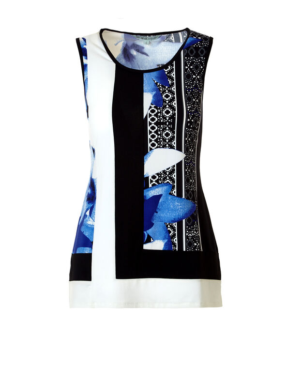 Floral Colour Block Top, Black/Ivory/Royal Blue, hi-res