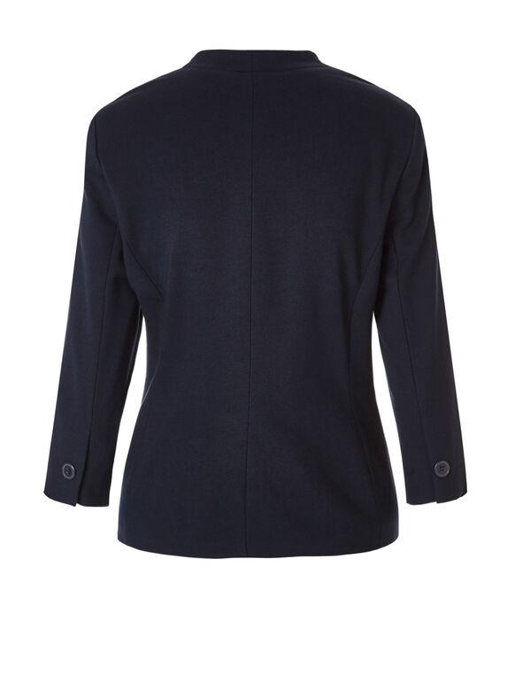 Navy 3/4 Sleeve Blazer, Navy, hi-res