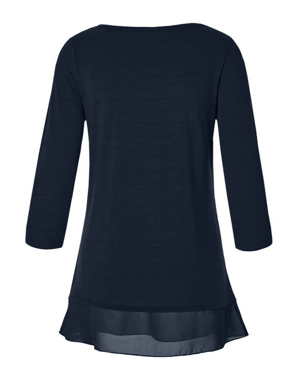 Navy Chiffon Hem Top, Navy, hi-res