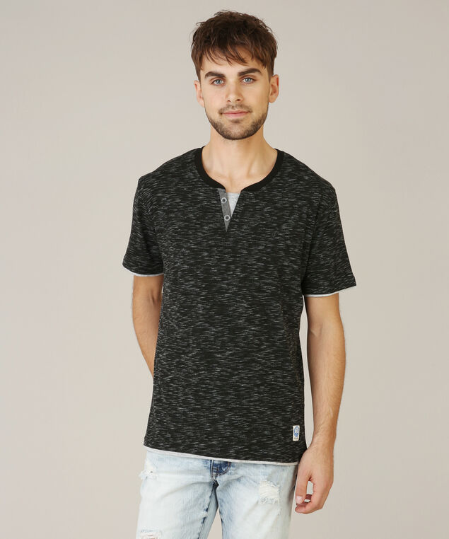 v-neck henley space dye, BLACK, hi-res
