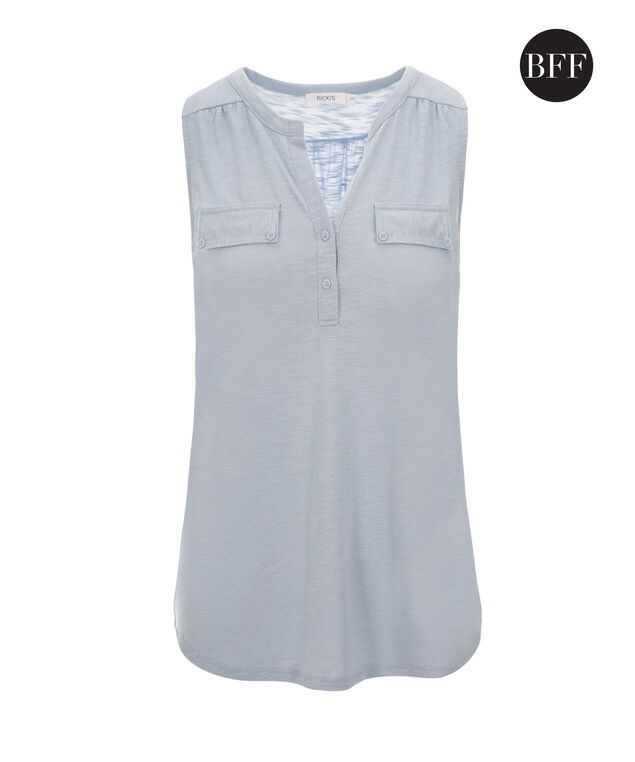 Henley Pocket Tank, Light Blue, hi-res