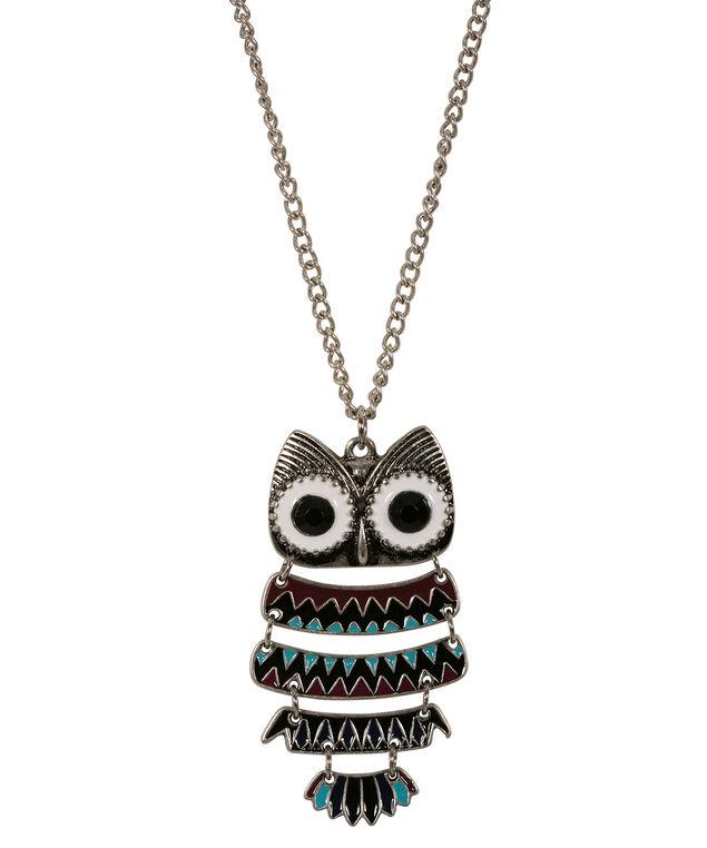 Owl Pendant Necklace, Burnished Silver, hi-res