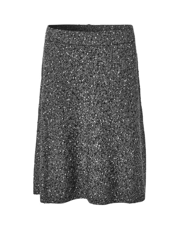Grey Mix Sweater Skirt, Grey, hi-res