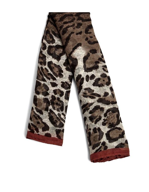 Animal Print Oblong Scarf, Ivory/Black/Chili, hi-res