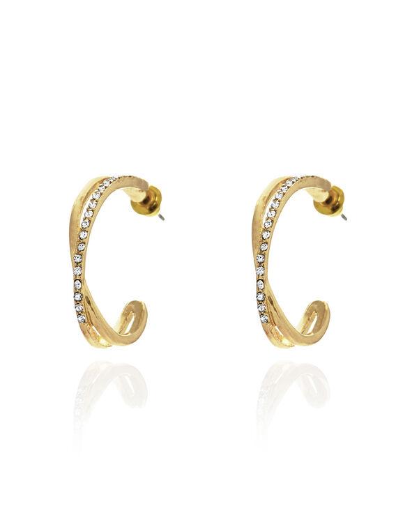 Gold Crisscross Earring, Gold, hi-res