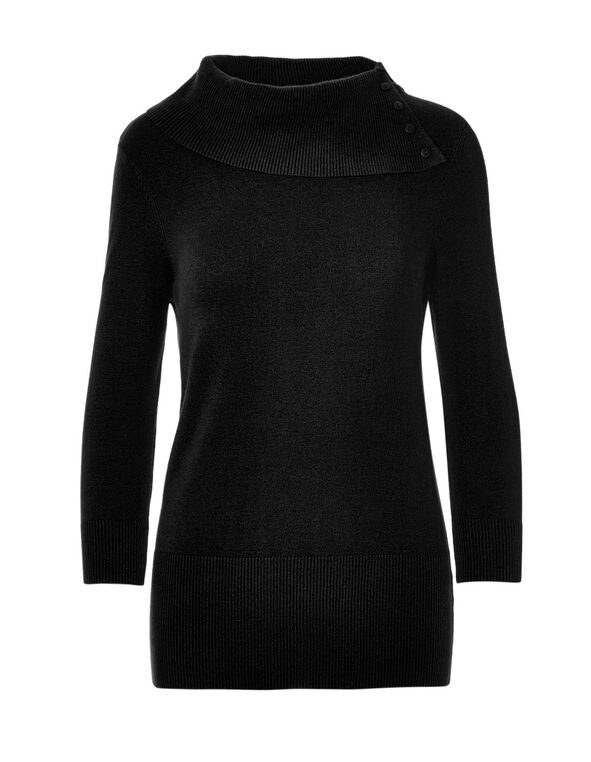 Black Split Neck Pullover Sweater, Black, hi-res