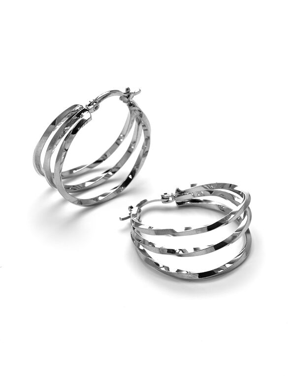 Triple Hoop Rhodium Earring, Rhodium, hi-res
