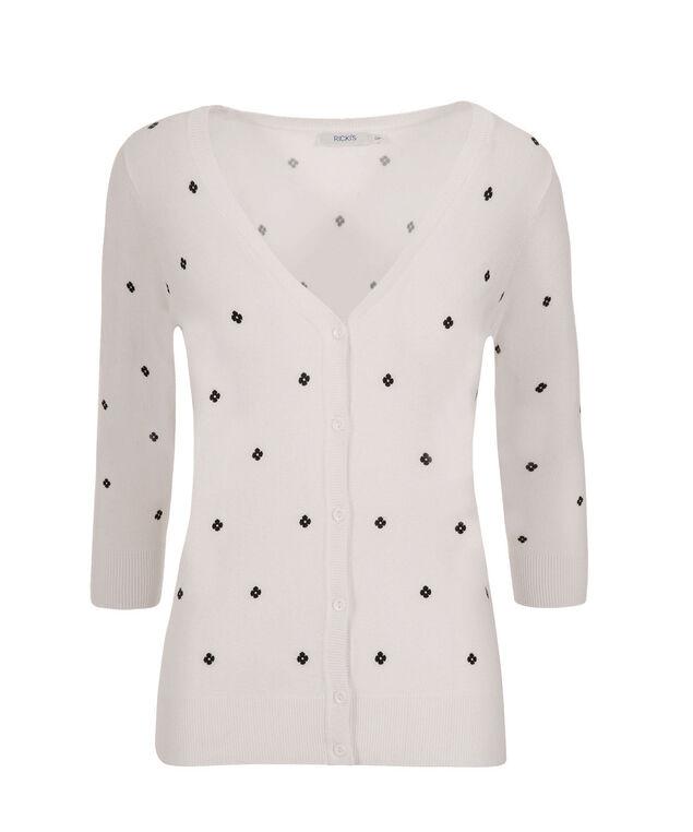 3/4 Sleeve Dot Cardi, White/Black, hi-res